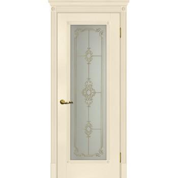 Дверь Флоренция-1 Магнолия  Экошпон Сатинат, контурный полимер золото со стеклом (Товар № ZF114983)