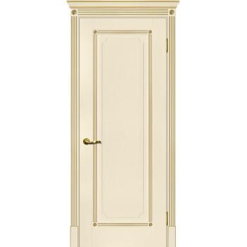 Дверь Флоренция-1 магнолия, патина золото  Экошпон глухое (Товар № ZF114984)