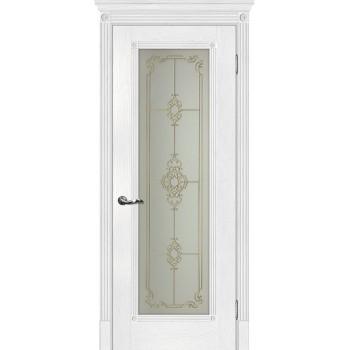 Дверь Флоренция-1 Пломбир  Экошпон Сатинат, контурный полимер золото со стеклом (Товар № ZF114987)