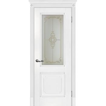 Дверь Флоренция-2 Белый  Экошпон Сатинат, контурный полимер золото со стеклом (Товар № ZF114993)