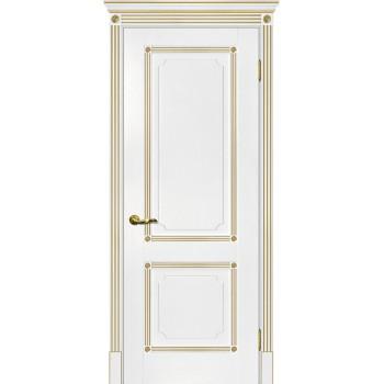 Дверь Флоренция-2 белый, патина золото  Экошпон глухое (Товар № ZF114994)