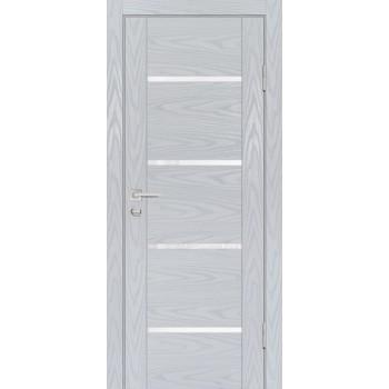 Дверь PSM-7 Дуб скай серый  Экошпон белоснежный лакобель со стеклом (Товар № ZF213379)