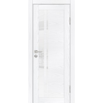 Дверь PSM-8 Дуб скай белый  Экошпон белоснежный лакобель со стеклом (Товар № ZF213380)