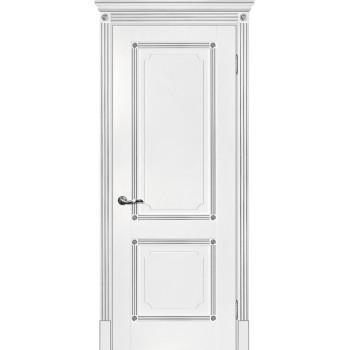 Дверь Флоренция-2 белый, патина серебро  Экошпон глухое (Товар № ZF114996)