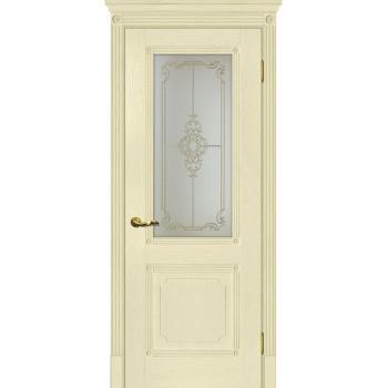 Дверь Флоренция-2 Ваниль  Экошпон Сатинат, контурный полимер золото со стеклом (Товар № ZF114999)