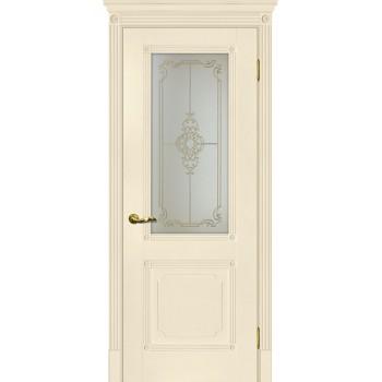 Дверь Флоренция-2 Магнолия  Экошпон Сатинат, контурный полимер золото со стеклом (Товар № ZF115003)