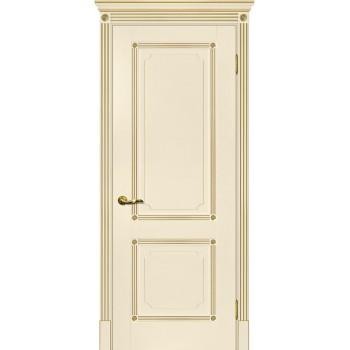 Дверь Флоренция-2 магнолия, патина золото  Экошпон глухое (Товар № ZF115004)