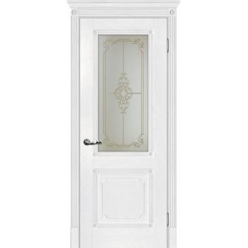 Дверь Флоренция-2 Пломбир  Экошпон Сатинат, контурный полимер золото со стеклом (Товар № ZF115007)