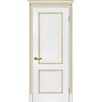 Дверь Флоренция-2 пломбир, патина золото  Экошпон глухое (Товар № ZF115008)