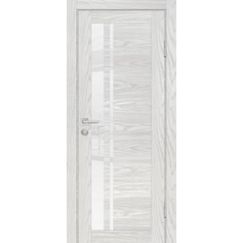 Дверь PSM-8 Дуб скай бежевый  Экошпон белоснежный лакобель со стеклом (Товар № ZF213381)