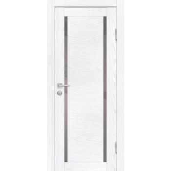 Дверь PSM-9 Дуб скай белый  Экошпон белоснежный лакобель со стеклом (Товар № ZF213383)