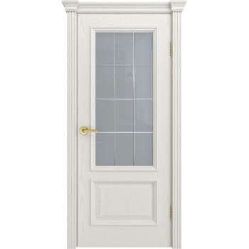 Дверь Фрейм 07 Бьянко  Шпон ст.Премиум светлое, гравировка рис.Решетка со стеклом (Товар № ZF115057)