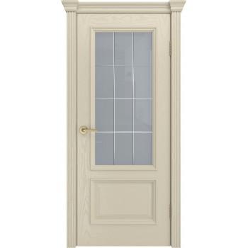 Дверь Фрейм 07 Крем  Шпон ст.Премиум светлое, гравировка рис.Решетка со стеклом (Товар № ZF115059)