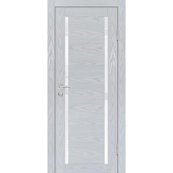 Дверь PSM-9 Дуб скай серый  Экошпон белоснежный лакобель со стеклом (Товар № ZF213385)