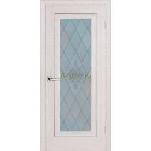 Дверь PSB-25 Дуб Гарвард кремовый  Сатинат, пескоструйная обработка со стеклом (Товар № ZF114266)