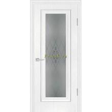 Дверь PSB-25 Пломбир  Сатинат, пескоструйная обработка со стеклом (Товар № ZF114269)
