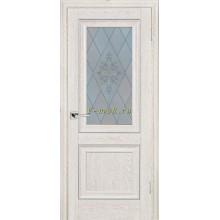 Дверь PSB-27 Дуб Гарвард кремовый  Сатинат, пескоструйная обработка со стеклом (Товар № ZF114278)