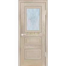 Дверь PSB-29 Дуб Гарвард бежевый  Сатинат, пескоструйная обработка со стеклом (Товар № ZF114289)