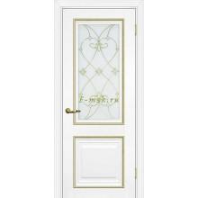 Дверь PSCL-27 Белый  Белое, заливной витраж золото рис. Калипсо, двухсторонний со стеклом (Товар № ZF114338)