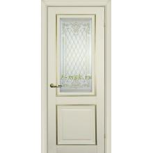 Дверь PSCL-27 Магнолия  Белое, заливной витраж золото рис. Готика, двухсторонний со стеклом (Товар № ZF114339)