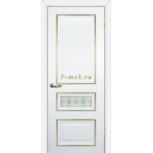 Дверь PSCL-29-1 Белый  Белое, заливной витраж золото рис. Калипсо, двухсторонний со стеклом (Товар № ZF114343)