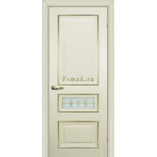 Дверь PSCL-29-1 Магнолия  Белое, заливной витраж золото рис. Калипсо, двухсторонний со стеклом (Товар № ZF114344)