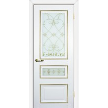 Дверь PSCL-29-2 Белый  Белое, заливной витраж золото рис. Калипсо, двухсторонний со стеклом (Товар № ZF114345)