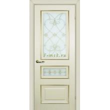 Дверь PSCL-29-2 Магнолия  Белое, заливной витраж золото рис. Калипсо, двухсторонний со стеклом (Товар № ZF114346)