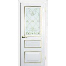 Дверь PSCL-29 Белый  Белое, заливной витраж золото рис. Калипсо, двухсторонний со стеклом (Товар № ZF114342)