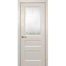 Дверь PSU-29 Бланжевое дерево  Сатинат с художественным рисунком решетка со стеклом (Товар № ZF114463)