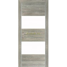 Дверь PX-4 Дуб грей патина  белый лакобель со стеклом (Товар № ZF114487)