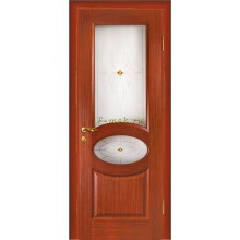 Дверь Алекс Красное дерево  Сатинат, художественное, фьюзинг со стеклом (Товар № ZF114515)
