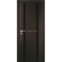 Дверь PX-9 Венге горизонтальный  черный лакобель со стеклом (Товар № ZF114509)