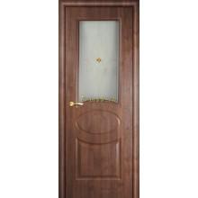 Дверь Алекс Орех памплона  Сатинат, художественное, фьюзинг со стеклом (Товар № ZF114519)