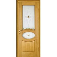 Дверь Алекс Светлый дуб  Сатинат, художественное, фьюзинг со стеклом (Товар № ZF114521)