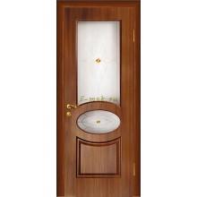 Дверь Алекс Темный орех  Сатинат, художественное, фьюзинг со стеклом (Товар № ZF114523)