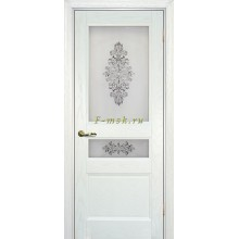 Дверь Вайт 02 Ясень айсберг  Сатинат, шелкография серая (два стекла) со стеклом (Товар № ZF114531)