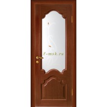 Дверь Кардинал Темный орех  Сатинат, художественное, фьюзинг со стеклом (Товар № ZF114600)