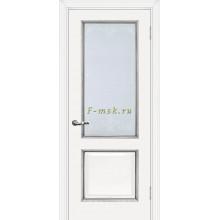 Дверь Мурано-1 Белый серебро  Сатинат, контурный полимер серебро со стеклом (Товар № ZF114626)