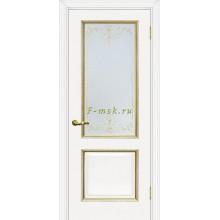 Дверь Мурано-1 Белый золото  Сатинат, контурный полимер золото со стеклом (Товар № ZF114624)