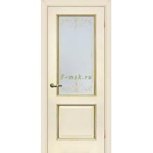 Дверь Мурано-1 Магнолия  Сатинат, контурный полимер золото со стеклом (Товар № ZF114628)