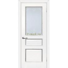 Дверь Мурано-2 Белый серебро  Сатинат, контурный полимер серебро со стеклом (Товар № ZF114632)