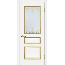 Дверь Мурано-2 Белый золото  Сатинат, контурный полимер золото со стеклом (Товар № ZF114630)