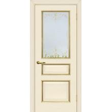 Дверь Мурано-2 Магнолия  Сатинат, контурный полимер золото со стеклом (Товар № ZF114634)