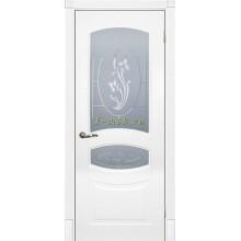 Дверь Смальта 02 Белый ral 9003  Сатинат, пескоструйная обработка со стеклом (Товар № ZF114708)