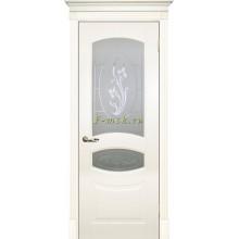Дверь Смальта 02 Слоновая кость ral 1013  Сатинат, пескоструйная обработка со стеклом (Товар № ZF114710)