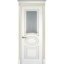 Дверь Смальта 03 Белый ral 9003 патина золото  Сатинат, пескоструйная обработка со стеклом (Товар № ZF114711)