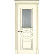 Дверь Смальта 03 Слоновая кость ral 1013 патина золото  Сатинат, пескоструйная обработка со стеклом (Товар № ZF114713)