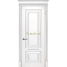 Дверь Смальта 04 Белый ral 9003 патина серебро  глухое (Товар № ZF114716)