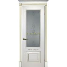 Дверь Смальта 04 Белый ral 9003 патина золото  Сатинат, пескоструйная обработка со стеклом (Товар № ZF114715)